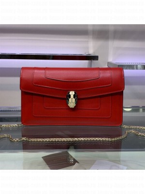 Bvlgari Serpenti Forever Chain Shoulder Bag 25cm Red 2019 Collection