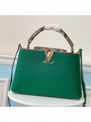 Louis Vuitton Capucines PM Python Top Handle Bag N95384 Green/Grey 2019 Collection
