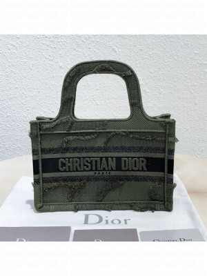 Dior Mini Book Tote Bag in Camouflage Embroidered Canvas Bag Green 2019 Collection
