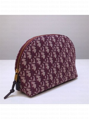 Dior Oblique Jacquard Canvas Cosmetic Clutch Bag Burgundy 2020 Collection
