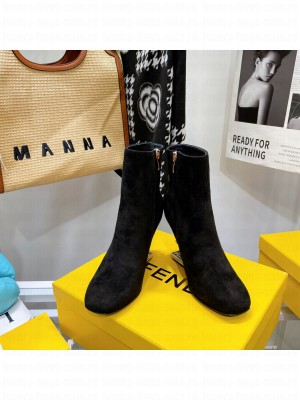 FENDI FIRST Black Suede high-heeled boots 2021 Collection