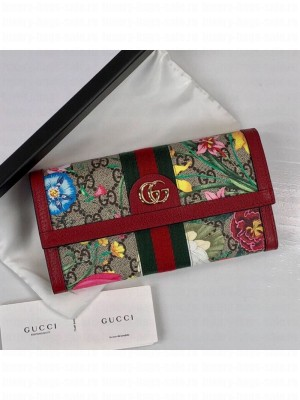 Gucci Ophidia GG Flora Continental Wallet 523153 Red 2019 Collection