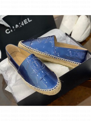 Chanel CC Patent Leather Espadrilles Blue Spring/Summer 2021 Collection 60