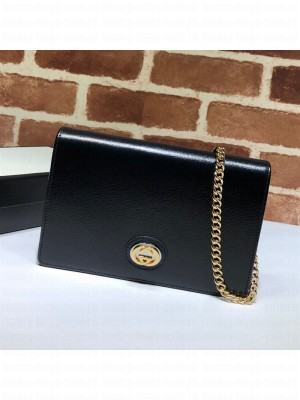 Gucci Leather Interlocking G Chain Card Case Wallet 598549 Black 2019 Collection