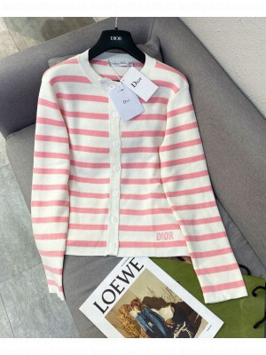 Christian Dior Women's Knitted Striped Cardigan Pink