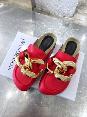 JW Anderson WOMEN'S CHAIN LOAFER MULES RED