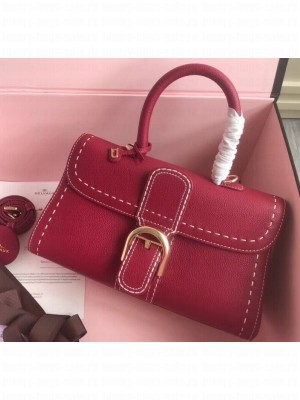 Delvaux Brillant East/West Mini Tote Bag In Togo Leather Large Raspberry Red
