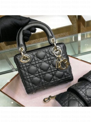 Dior Mini Lady Dior Bag in Grained Calfskin Black  2021 Collection