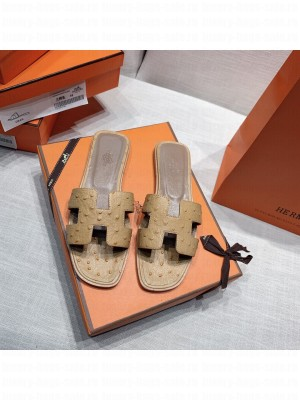 Hermes Oran Flat slippers with Ostrich Leather 088 2021 Collection