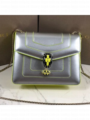 Bvlgari Serpenti Forever Patent Calfskin Flap Bag 20cm Silver/Neon Yellow 2019 Collection