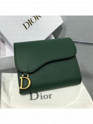 Dior Saddle Grained Calfskin Mini Flap Wallet Green 2019 Collection