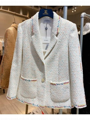 Chanel Women's Colorful Embroidered Lace Jacket White