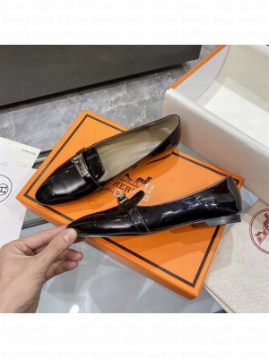 Hermes Bilbao ballet Patent Leather Black flat Loafer 2021 Collection