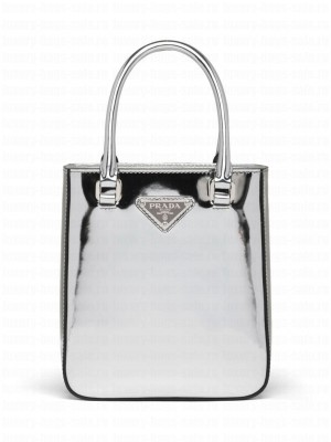 Prada Small Brushed Leather Tote 1BA331 Silver