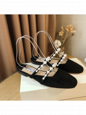 Jimmy Choo AMAYA FLAT Black Suede Flats with Pearl Embellishment 2021 Collection