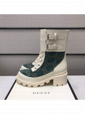 Gucci Women's boot with Interlocking G Blue/White 2021 Collection 04