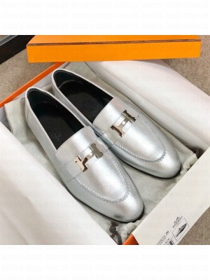 Hermes Paris Lambskin Flat Loafers Silver 2020 Collection