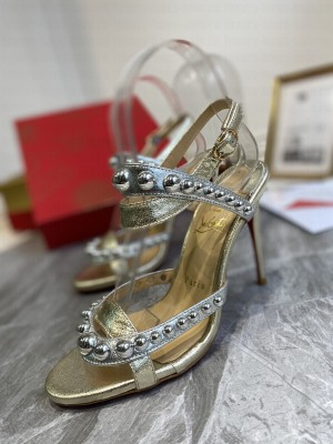 Christian Louboutin Round Studded Silver Sandals 2021 Collection