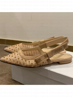 Dior J'Adior Slingback Ballerinas Flats in Crystal Mesh Embroidery Nude/Yellow Spring/Summer 2021 Collection