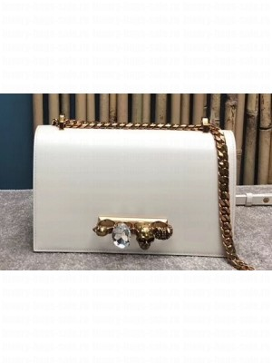 Alexander Mcqueen Jewelled Satchel Bag Smooth Calf Leather White