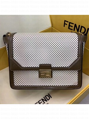 Fendi Kan U Large Embossed Corners Perforated Leather Flap Bag White 2019 Collection