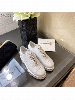 Chanel Lace Up Loafers Lambskin Leather Spring/Summer 2021 Collection, White
