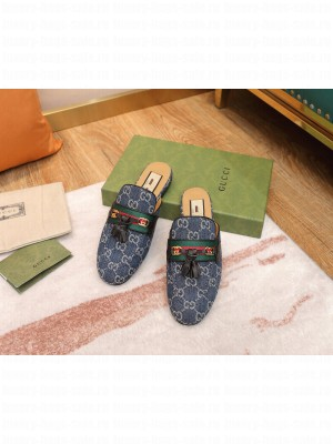 Gucci GG Denim Slipper with Tassels Green 2021 Collection