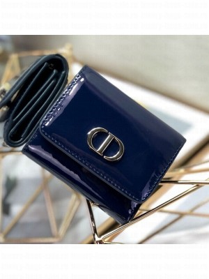 Dior Medium 30 Montaigne Lotus Patent Leather Wallet Navy Blue 2019 Collection
