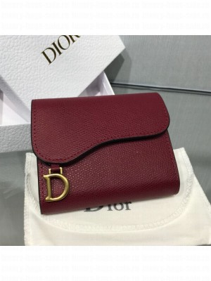 Dior Saddle Grained Calfskin Mini Flap Wallet Burgundy 2019 Collection