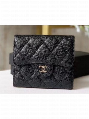 Chanel Classic Small Flap Wallet 31528 AP0231 Grained Calfskin Black/Silver