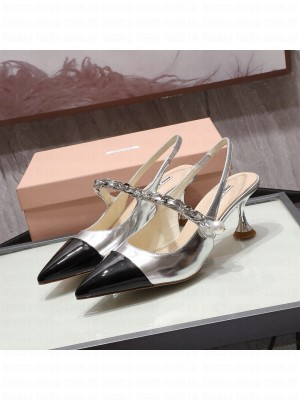 MIU MIU LEATHER POINTED Slingback Strap with chain and button 55 mm heel Silver/Black