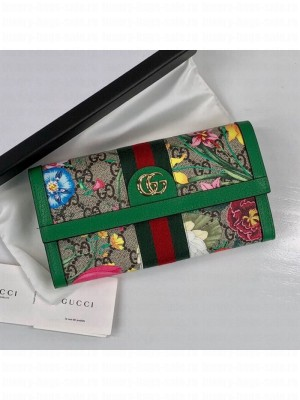 Gucci Ophidia GG Flora Continental Wallet 523153 Green 2019 Collection