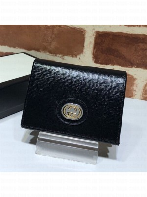 Gucci Leather Interlocking G Card Case Wallet 598532 Black 2019 Collection