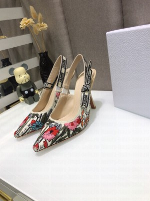 Dior J'Adior Slingback Pumps 9.5cm in Multicolor Mille Fleurs Embroidered Cotton 2021 Collection