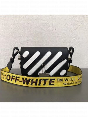 Off-White Saffiano Leather Diag Binder Clip Bag Black 2018 Collection