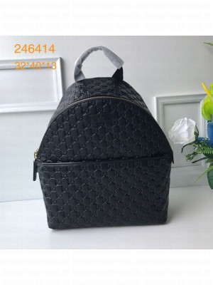 Gucci GG Embossed Leather Backpack 246414 Black 2019 Collection
