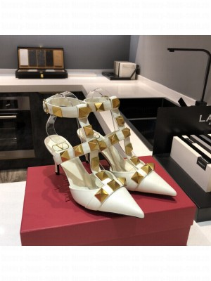 Valentino Garavani Roman Stud 80mm pump with straps embellished with maxi studs White 2021 Collection
