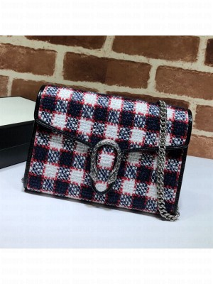 Gucci Ophidia Check Tweed Supreme Chain Wallet WOC 401231 Blue/White/Red 2019 Collection