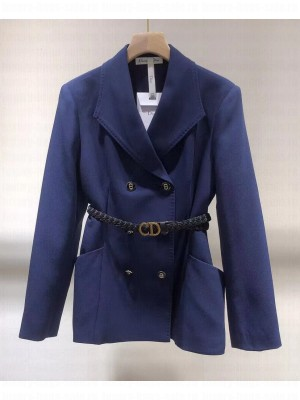 Christian Dior Women's Double-breasted straight jacket Blue