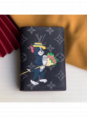 Louis Vuitton Monogram Eclipse Canvas Tom and Jerry Print Passport Cover M64411 2019 Collection