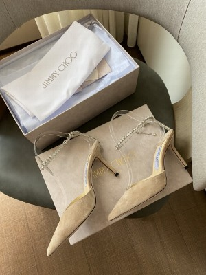 Jimmy Choo Beige Suede with Crystal Strap 8.5cm 2021 Collection