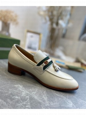 GUCCI                                                                                        Loafer with Web and Interlocking G White