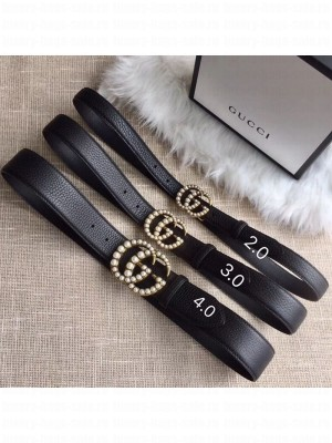 Gucci Leather Belt 20/30/40mm with Pearl GG Buckle Black 2020 Collection