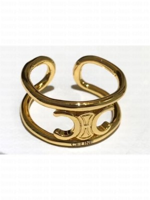 Celine Triomphe Ring in Brass with Gold Finish