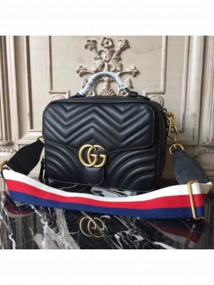 Gucci GG Marmont Chevron Quilted Top Handle Camera 25cm Bag Calfskin Leather 498100 Fall/Winter 2017 Collection, Black