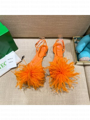 Bottega Veneta FEATHER DOT Leather and ostrich feather flat sandals orange 2021 Collection