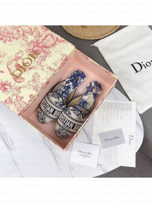 Dior Off Dior Mules In Blue Toile de Jouy Canvas 2021 Collection 02