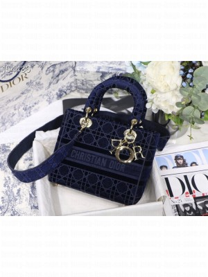 Christian Dior D-Lite Lady Dior Bag 24cm Velvet Embroidered Canvas Gold Hardware Fall/Winter 2020 Collection,  Navy Blue