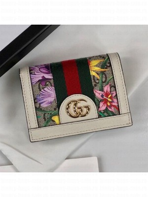 Gucci Ophidia GG Flora Card Case Wallet 523155 White 2019 Collection