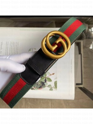 Gucci Web Fabric Belt 38mm with Vintage Interlocking G Buckle Red/Green/Gold 2020 Collection